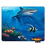 Nicokee Sharks Gaming Mousepad Under Sea Fish Sharks Mouse Pad Rectangle Mouse Mat for Computer Desk Laptop Office 9.5 X 7.9 Inch Non-Slip Rubber