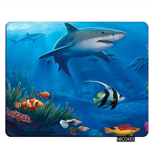 NICOKEE Sharks Rectangle Gaming Mousepad Under Sea Fish Sharks Mouse Pad Mouse Mat for Computer Desk Laptop Office 9.5 X 7.9 Inch Non-Slip Rubber