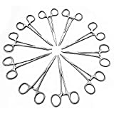 10 pcs Mosquito Hemostat Locking Forceps 5 Curved & 5 Straight Stainless Steel, 5 inch