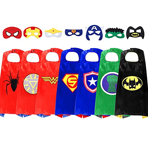InPoTo Superhero Capes for Kids, 7 Sets Heroes Capes and Masks for Dress Up Costumes(7Cape, 7 Mask)