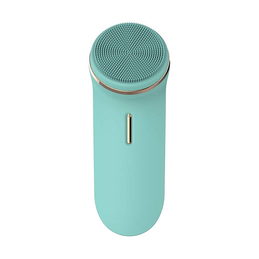 ロッジプットパール洗顔ブラシ,電動食品級シリコン IPX7防水音波洗顔 フェイスブラシ 2ブラシヘッド,グリーン