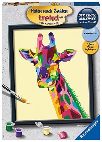 Ravensburger Malen nach Zahlen 28926 Bunte Giraffe - Malen nach Zahlen für Erwachsene. Perfektes Malergebnis durch hochwertiges Künstlerzubehör, ohne Rahmen