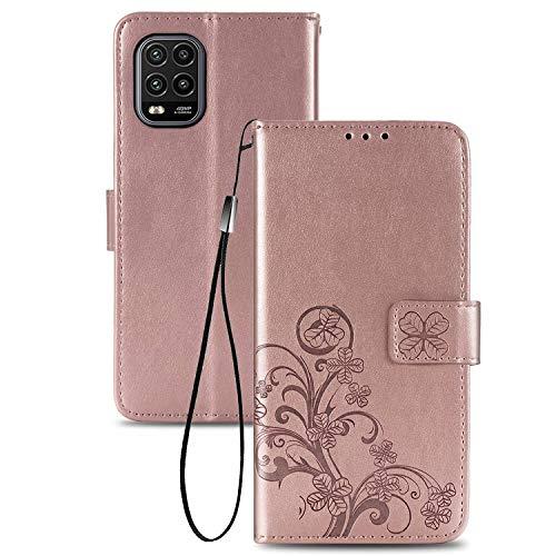 TOPOFU Handyhülle für Xiaomi Mi 10 Lite 5G Hülle, Superdünne Premium Leder Tasche Hülle Flip Wallet Schutzhülle mit Ständer & Kartenfach für Xiaomi Mi 10 Lite 5G (Roségold)
