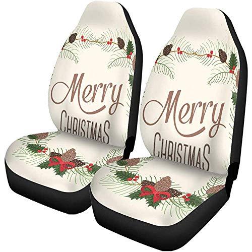 Olive Croft 2PCS Autositzbezüge Bunte Box Frohe Weihnachten Kalligraphische Feier Abendessen Eve Family Universal Protector Passt für Auto, SUV, LKW