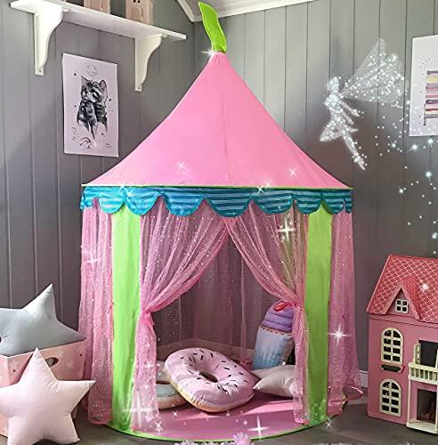 Tiny Land Tenda Gioco con Borsa Tote per Bambine, Portatile Castello della Principessa Rosa (140 cm di Altezza)