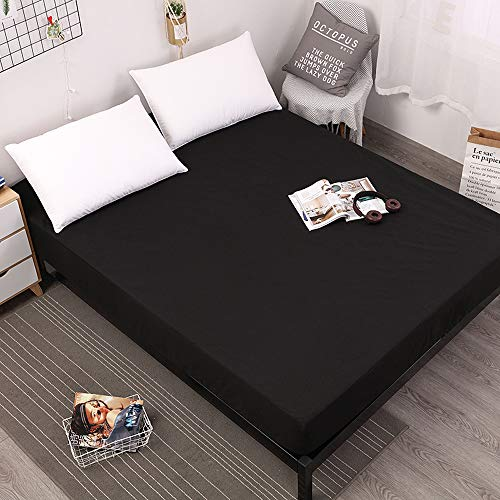 LU2000 Queen Size Premium Hypoallergenic Waterproof Mattress Protector Dust Mite Protection Breathable Bed Cover Bedspread Coverlet - Black