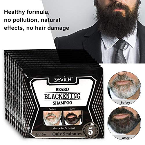 Funnyfeng Shampoing pour barbe Black Beard Colouring liquide Essence d'allaitement No More Grey In The Mirror pour barbe et moustache Gentle Safe Effi