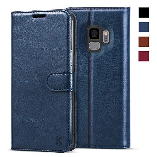 KILINO Samsung Galaxy S9 Hülle [PU Leder][RFID Blocker][Schützt vor Stößen][Kartenfach][Standfunktion] Handyhülle Klapphüllen Handytasche Schutzhülle Lederhülle Flip Cover Hülle (Blau)
