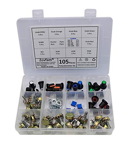 Potentiometer Kit, 1K ohm-100K ohm Multiturn Trimmer Potentiometer 3296W, 5K 10K 20K 50K 100K Ohm Single Linear Taper 3 Pins Rotary Potentiometers Resistor with Pots Knobs Kit