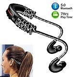 Ecouteur Bluetooth Sport 5.0 Oreillettes Bluetooth Sans Fil avec Microphone, Stéréo HD,Longueur Ajustable,Temps de Travail: 7...