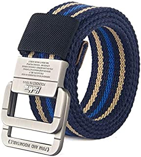 SGJFZD Canvas Belt Men's Belt Alloy Double Ring Buckle Fashionable Denim Teen Student Pants Belt Women (Color : A, Size : 115cm)