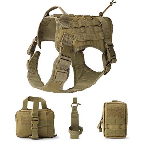 UEETEK Hund Tactical Vest, Taktische Service Hund Weste, Wasserdicht Bequem Military Patrol Hundegeschirr Anzug mit Wasserkocher Set Kleinteile Taschen und Commuter Tasche Größe L (Braun)