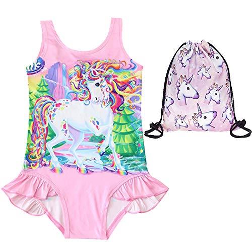 EuHigh Bañador para Niña Unicornio Traje de Baño Una Pieza Bikini Libre Regalo