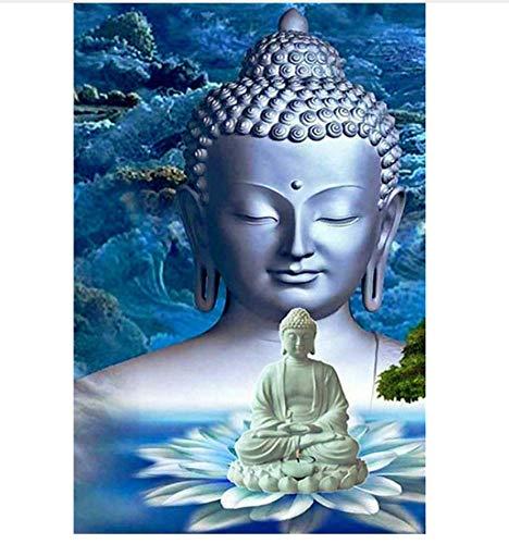 5D volledige diamant schilderij kruissteek Kits Boeddha standbeeld DIY diamant borduurwerk diamant mozaïek hand decoupeerzaag 40x50cm/16x20in