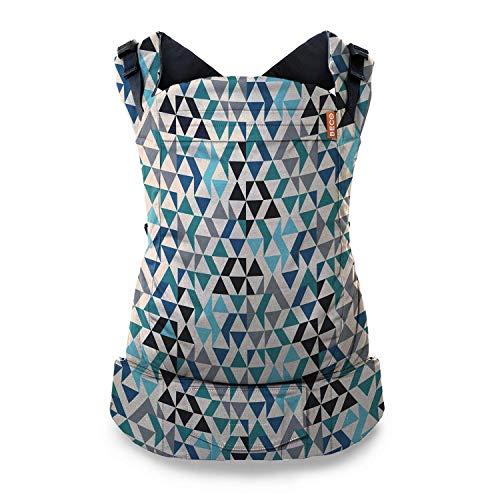 Beco Portabebés para Niños Pequeños - Mochila Portabebés para infantes de 9 a 30 kgs diseñada para cargar niños pequeños con asiento extra amplio (Geo Teal Blue)