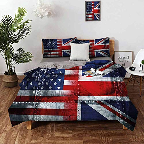 DRAGON VINES Sheets Cotton Union Jack Deep Pocket Queen Sheets Alliance Togetherness Theme Composition of UK and USA Flags Vintage W90 xL90 Navy Blue Red White