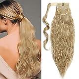 Ponytail Clip in Pferdeschwanz Zopf Extension Haarteil Haarverlängerung Hair Piece Corn Wavy gewellt wie Echthaar Aschblond 20'(50cm)