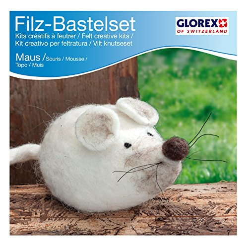 Glorex 6 2902 604 - Kreatives Filz Bastelset Maus, Filzset mit Trockenfilzwolle, fertige Figur ist ca. 12 x 6 cm groß