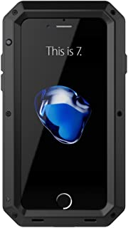 iPhone 7 Aluminum Metal Case,[Military Heavy Duty]Extreme Waterproof Shock/Dust/Dirt/Snow Proof Gorilla Glass Protection Cover Case with Touch ID Function (Black)