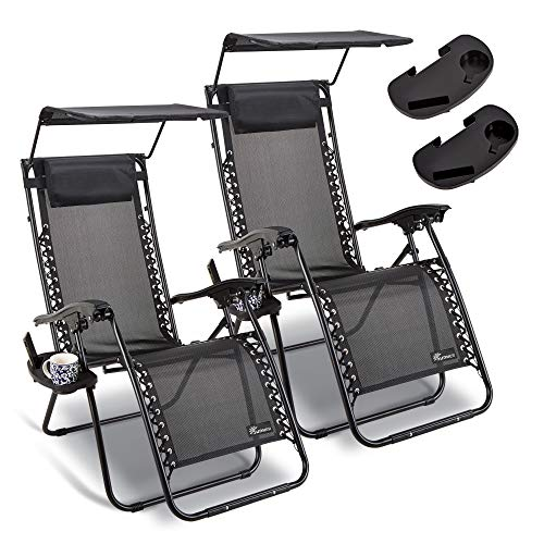 SUNMER Set of 2 Sun Lounger Garden Chairs With Canopy and Cup Holder | Deck Folding Recliner Zero Gravity Outdoor Chair – Black