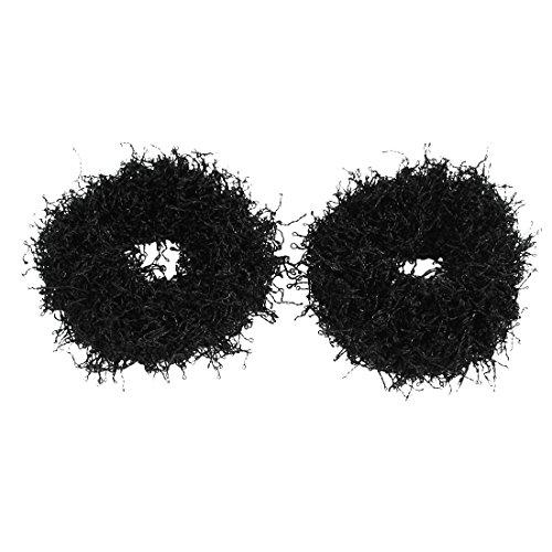 sourcingmap Lady En Nylon Noir Conception De Corde Élastique Porte-queue De Cheval Accessoire De Coiffure 2 Pcs