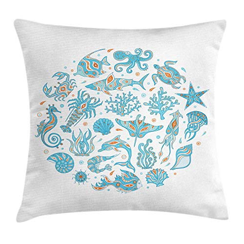 SSHELEY Squid Throw Pillow Cushion Cover, Round Composition of Underwater Inhabitants, Decorative Square Accent Pillow Case