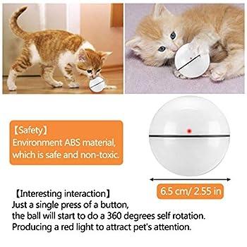 Jouet Interactif pour Chat, Boule Auto-Rotative à 360 Degrés, Chargement USB Jouet Exercice à LED, Balles Interactives Automatiques Rotatives pour Chatons de Chaton Prenant et Amusant (Blanc)