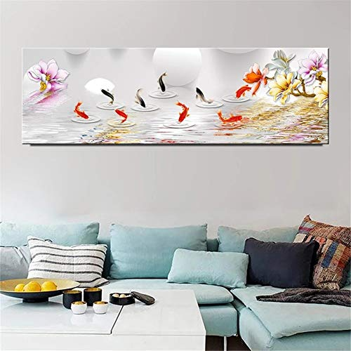 Large Size 5D DIY Diamond Painting by Number Kits for Adults, Koi Fish Big Diamond Art Kit Full Drill Rhinestone Embroidery Pictures Arts for Home Wall Decor 12x24in Round Drill Y554