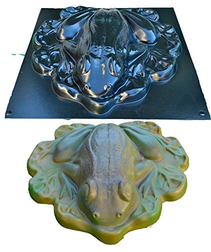Concrete Mold Frog Giant on Leaf Garden Accessories Stone ABC Plastic Sold 1 Piece A05
