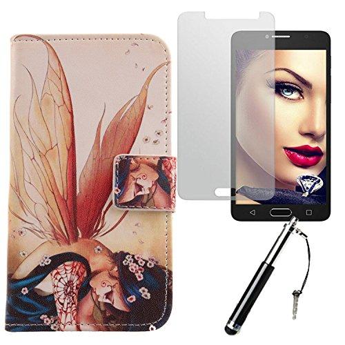 Lankashi Wing Girl 3in1 Set PU Flip Leder Tasche Für Alcatel One Touch Pop 4S 5.5