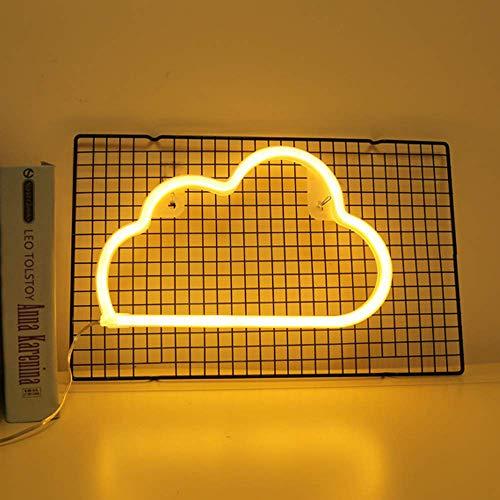 Neon Lights LED Wolke Schilder Wand Licht-Raum-Dekor-Nachtlichter Batterie und USB Operated Neon Lights Warm White Neon Zeichen für Kinder Baby-Raum-Schlauch Bar Hochzeit Dekoration (Wolke)