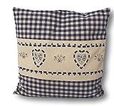 Zirbe cuscino a quadri bianchi e blu con cuore Ricamo riempito con fiocchi di cirmolo in 100% Alpi il legno di pino in extra Inlett misura 40x 40cm
