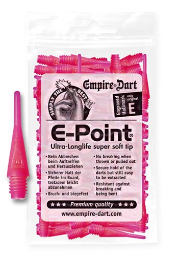 Empire Dart Softdartspitzen, E-Point, 2BA, kurz, neonpink, 100 Stück, 20690