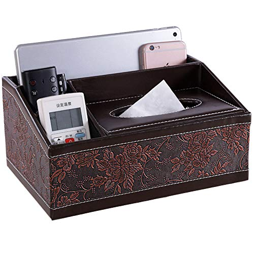 TerranEos Multifunction Retro Storage Box High Capacity PU Leather Case with Tissue Box 10X5X7inch Pen Pencil Organizer Caddy Remote Control Holder for Home Office