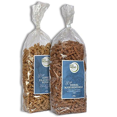 BIO Dinkel Hirse Nudeln & BIO Dinkel Maroni Nudeln, je 250 g / Probier-Set / Urdinkel / Braunhirse / ohne Ei / vegan / Rohkostqualität / Gourmetnudeln