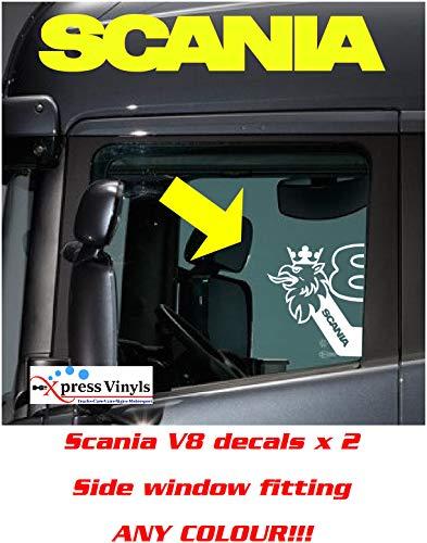 myrockshirt 2X Scania V8 Logo mit Greif halb für Seitenfenster Aufkleber,Sticker,Decal,Autoaufkleber,UV&Waschanlagenfest,Profi-Qualität