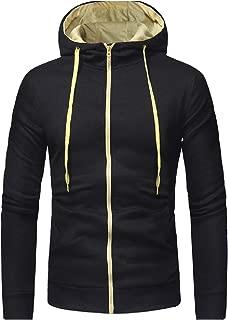 Men Classic Silm Fit Casual Drawstring Zipper Hooded Sweatshirts