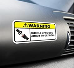 (2X) Funny Buckle Up Warning Sticker Set Vinyl Decal For Car Truck SUV Dashboard