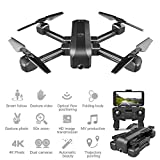 ZHCJH Drone GPS con cámara para Adultos 4K, cámara Dual de fotografía aérea de Alta definición Plegable de Flujo óptico con Zoom de 50x Smart Follow