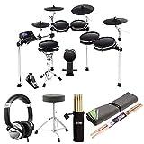 Alesis DM10 MKII Pro Kit Ten-Piece Electronic Drum Kit with Mesh Heads + DJ Headphones + Drumsticks & Holder + Extra Pair Drumsticks + Double Drum Throne + Drum Mat – Top Value Accessory Bundle