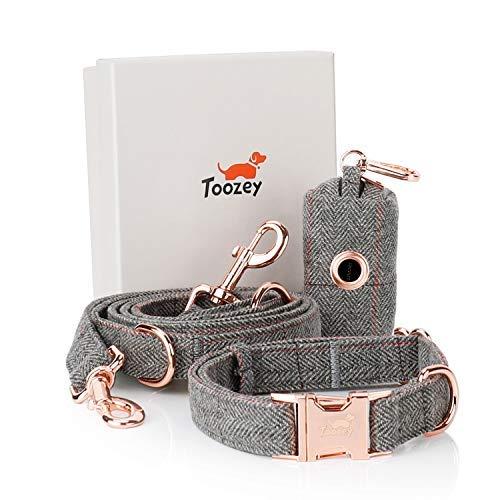 Toozey Hundeleine (2m) + Hundehalsband + Beutelspender im Set, Verstellbar Hundehalsband und Leine Set für Kleine Hund bis Große Hunde, Außergewöhnlich Edel und Elegant