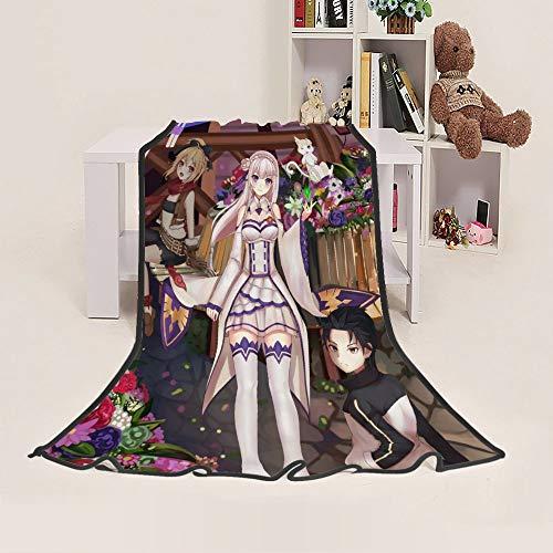 Jiaxiin Re: Life In A Different World from Zero - Natsuki Subaru, Emilia and Felt Anime Manta de Dibujos Animados Regalo de Felpa Suave edredón (F, 150×200cm)