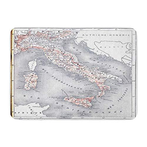Funny Z Mapa topográfico Italia Diccionario Grabado Vintage Palabras Alfombrilla Baño Alfombra Antideslizante Entrada Puerta de Bienvenida Alfombra 15.7×23.5 Pulgadas