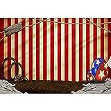 Cassisy 3x2m Vinilo Circo Telon de Fond Al Aire Libre Cortinas De Circo Rojo Rayas de Colores Objetos de Circo Fondos para Fotografia Party bebé Infantil Photo Studio Props Photo Booth