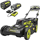 RYOBI RY401120-2B 20 in. 40-Volt Brushless Lithium-Ion Cordless Self-Propelled Walk Behind Mower with 2 6.0 Ah Batteries, Charger Included