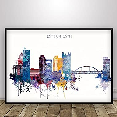 Pittsburgh Watercolor poster, Home or office wall decor, Pennsylvania art decor. Unframed print