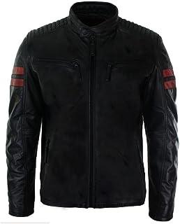 Aviatrix Mens Real Leather Biker Racing Jacket Red Stripes Zip Retro Casual Black Short