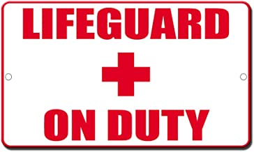 Fastasticdeals Lifeguard On Duty Novelty Funny Metal Sign 8 in x 12 in