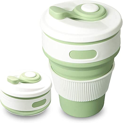 BicycleStore Collapsible Coffee Cup 2Pcs 300ml Foldable Silicone Drinking Cup Portable BPA Free Reusable Camping Collapsible Travel Cups Sports Water Bottle with Leak Proof Lids and Drinking Straw