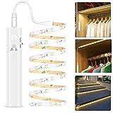 LED Band mit Bewegungsmelder - Warmweiß, Kleiderschrank Beleuchtung Stripe, Bewegungssensor Licht Leiste, Überall Aufkleben Nachtlicht für Schlafzimmer, Treppe, Schrank(1 pack | Batterie)